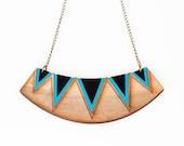 Geometric triangle bib necklace - Blue - SALE