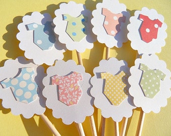 Cupcake Toppers - Baby Shower Cupcake Toppers - Baby Onesie Cupcake Toppers - Polka dot Cupcake toppers - Baby Shower Decor -  BOCT