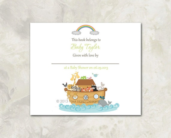 Noah39;s Ark Baby Shower Invitation, Matching Book Plate  a printable