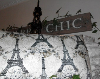 Shabby Chic French Pretty Pillow Eifeltowers Ruffles and Sophistication