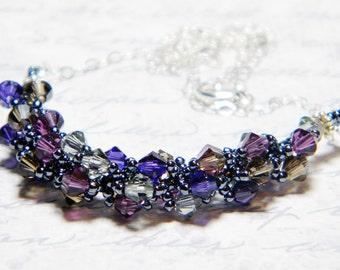 "Smoky Swarovski Crystal Necklace Amethyst Black Diamond Smoky Quartz Purple Velvet Sterling Silver Beadweaving -  ""Autumn Smoke"""