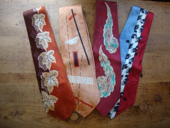 RESERVED for Ryan - - - -Four Snazzy Vintage Ties - Circa Mid Century - All Imperfect, But 3 Are Wearable - Great for Projects
