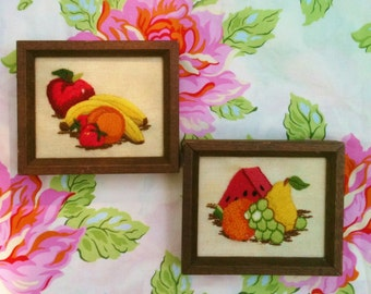 Vintage Crewel Framed Fruit Two Piece Set