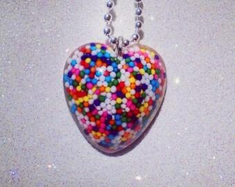 Sprinkle Heart Necklace (REAL Sprinkles)