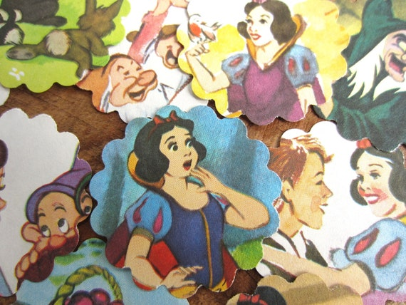 Scalloped Round Die Cuts Snow White and the Seven Dwarfs From Vintage Children's Book