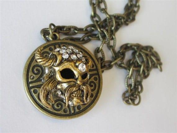 Viking pendant necklace norse viking warrior rhinestone horn like this item aloadofball Images