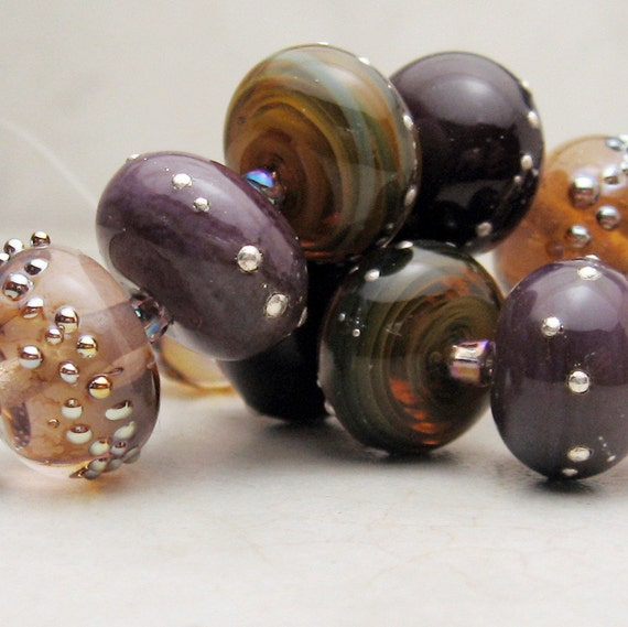 Lampwork Glass Bead Set SRA -   Purple Lavender Green Iridescent  'Autumn Nights'