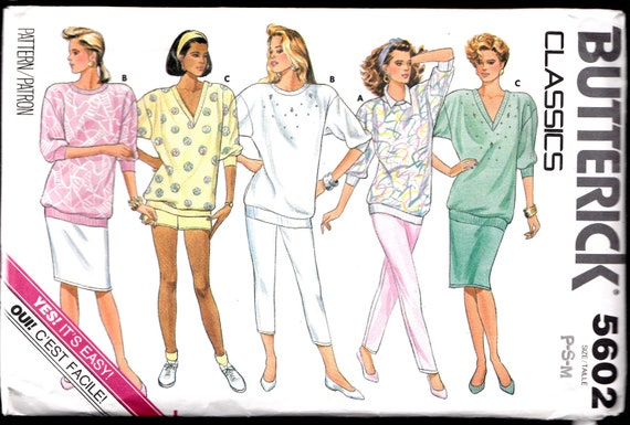 TOP Jacket SHORTS Pants Skirt Vintage Butterick Classic Sewing Pattern 5602 misses size Petite 6 Small 8 10 Medium 12 14 Misses