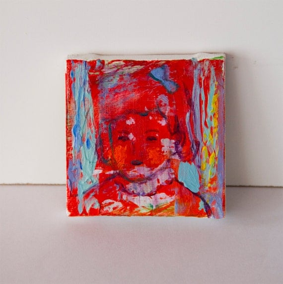 Original Painting canvas abstract tiny 2.75x2.75 red turquoise orange, abstract face of girl, modern wall art By Ana Gonzalez