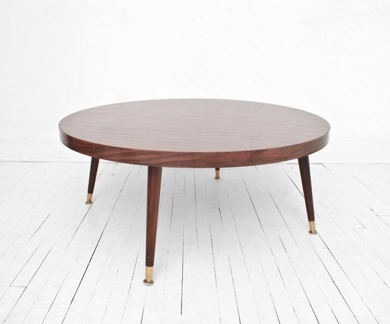 Mid Century Coffee Table Wood Modern Side Table Round On Etsy