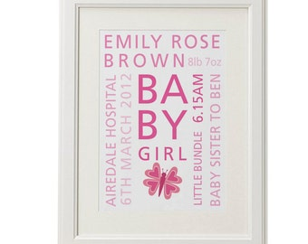 Personalised new baby words christening birth poster art print