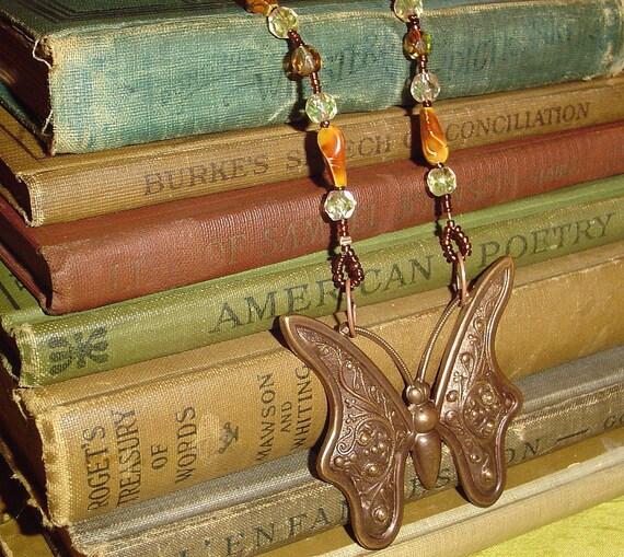Butterfly necklace in warm earthtones