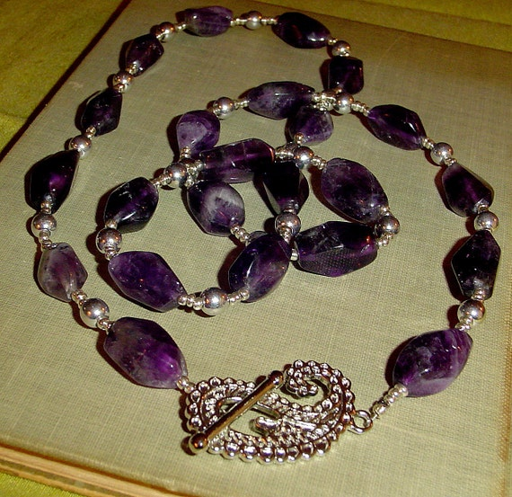 Reserved Purple fluorite necklace stone with silver handmade by MABjewelry