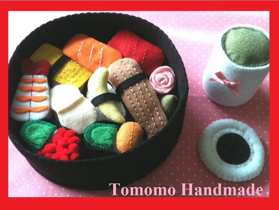 ETSY Pretend food - Play food -  Felt food DX Sushi 9pc Set