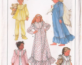 Girl's Pajamas, Slippers, Nightgown and Robe, Simplicity Pattern 8931, Size SM