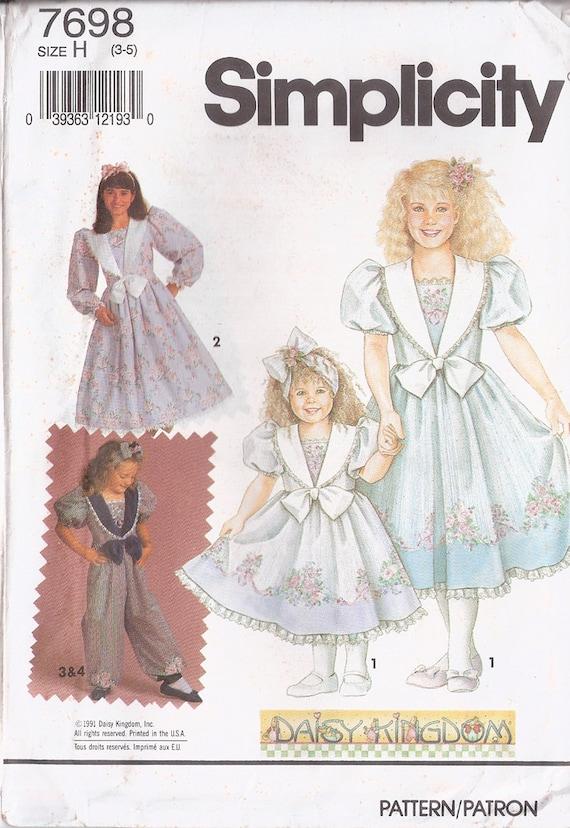 Girl's Daisy Kingdom Romper & Dress, Simplicity Pattern 7698, Size 3-5