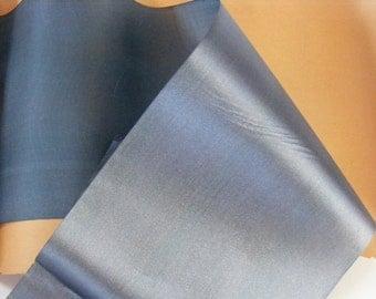 Antique 1900's Victorian French Silk Satin Ribbon 4 1/2 Inch Gorgeous Gun Metal Blue