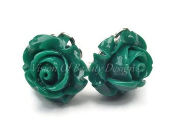 Forest Green Rose Flower Clip On Earrings