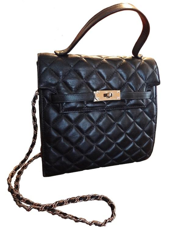 Retro/Vintage Black Leather Padded Purse/Bag With Shiny Brass Hardware