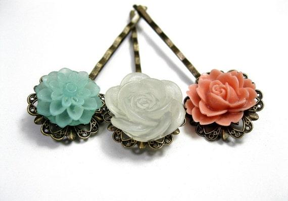 Hair Accessories, Flower Bobby Pins, Floral Hair Pins, Coral, Winter White, Aqua, Shabby Chic Hair Accessories
