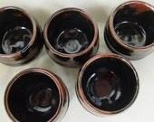 a Set of Five Teacups, Tea Bowls, in Tenmoku