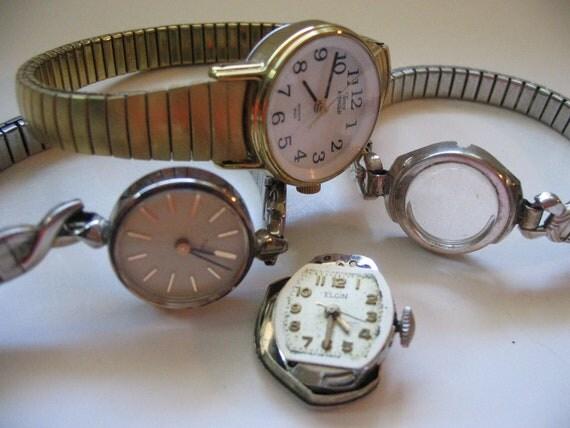 Antique Vintage Ladies Watch Gears Cogs Wheels Movements Steampunk Supplies Timex Elgin