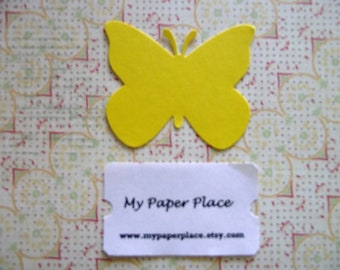 50 Bright Yellow  Butterfly Die Cuts- 2 inch cardstock-  Free Secondary Shipping