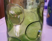 Blown Glass decanter-Bubbly Green