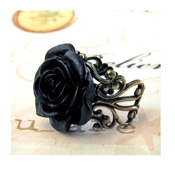 Black Rose Ring, Gothic Tea Rose, Filigree Statement Ring