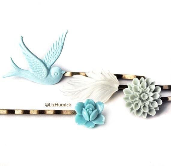 Ocean Beach Bobby Pins Set - Flower and Bird Bobby Pins