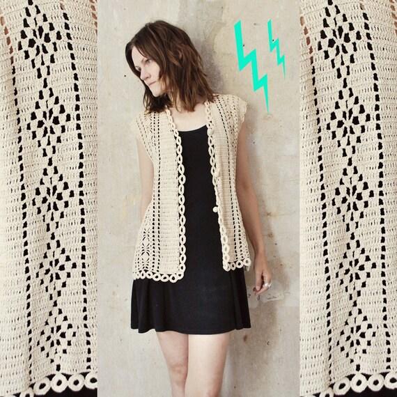 70s long cream CROCHET vest. boho hippie vest - medium, large