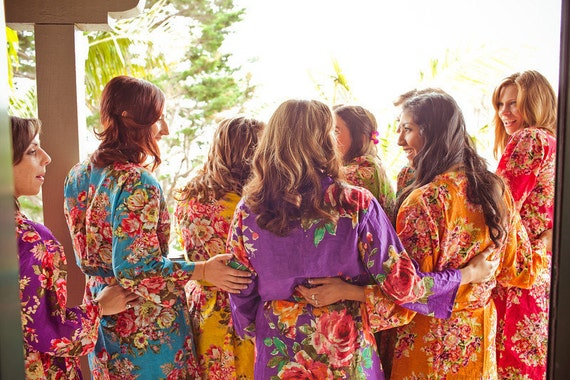 Mix Matched Bridesmaids Robes Perfect bridesmaids gift, getting ready robes, Bridal shower favors, Wedding photo prop, Floral Robes