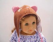 American Girl Doll Hat Winter Cap Bear Brown Flannel Doll Clothing