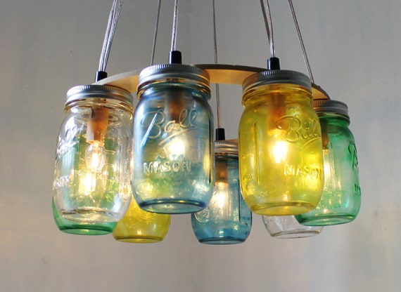 "SEA GLASS Mason Jar Chandelier - Upcycled Hanging Mason Jar Lighting Fixture Direct Hardwire - Rustic BootsNGus ""Wagon Wheel"" Lamp Design"