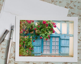 French Country Photo Notecard - Blue Shutters with Roses, France Travel Photography, Stationery