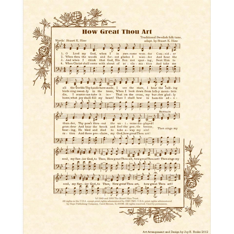 HOW GREAT THOU Art 8 x 10 Antique Hymn Art Print by ...