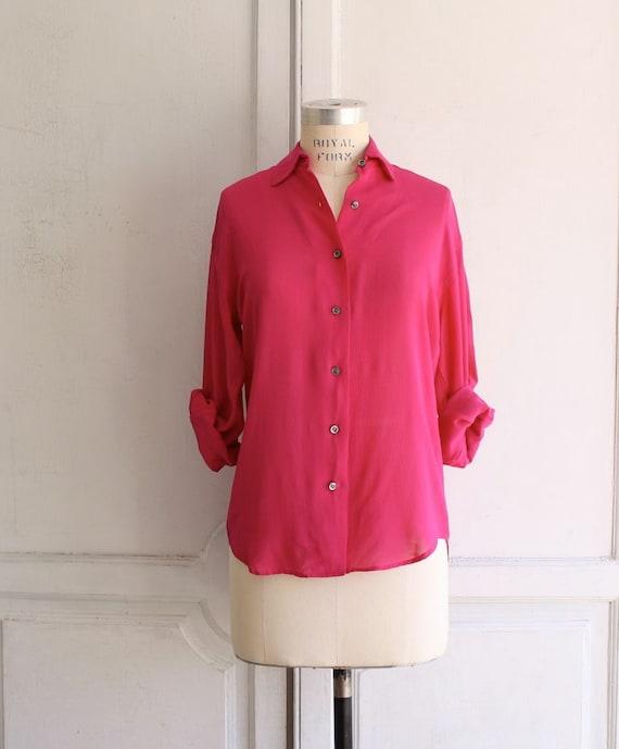 vintage ralph lauren 80s silk shirt . hot pink size 4