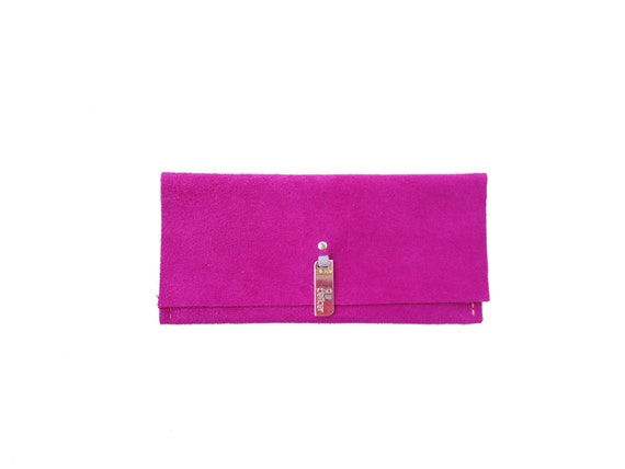 Bright Colored Suede Leather Billfold Wallet