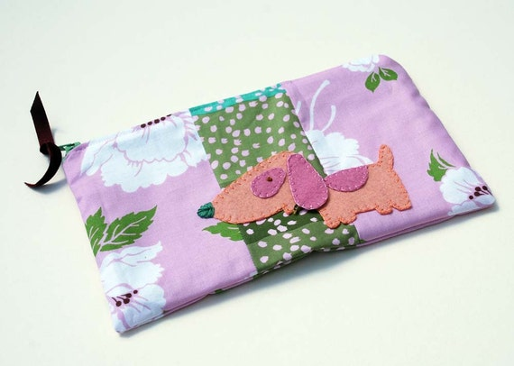 Zipper Pouch, Pencil Case, or Makeup Bag - Marilyn in Lavender and Green with Handmade Felt Puppy Dog