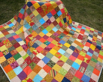 Patchwork Quilt--Queen Size--93 X 93--Warm Earthtone colors--with two matching pillow shams