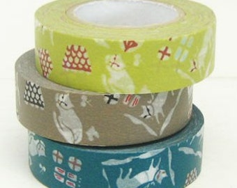 Cats Washi Tape Set of 3 - Japanese Classiky Washi Masking Tape  ( 15mm x 15m set of 3 )