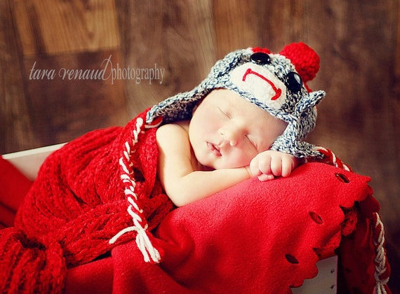 Sock Monkey Hat, Diaper Cover and Booties Crochet Pattern pdf 591