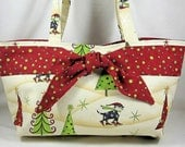 Tote Bag Cat Tote Kitty Purse Holiday with Skiing Kitties - OOAK