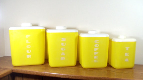 Vintage Lusto Ware Kitchen Canister Storage Set 1950s Yellow