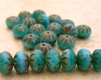 Premium Czech glass Cruller beads aqua with green turquoise 9x6mm (10) Item 2060