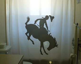 Bucking Bronco Shower Curtain Horse Bathroom Decor Kids Bath Rider Rodeo Western Cowboy Cowgirl custom unique