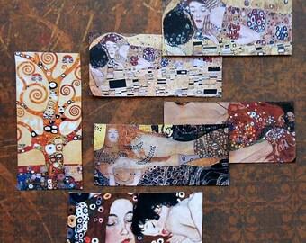 6 Extra large KLIMT printed STICKERS- Printed with Water-resistant Ink- Klimt the Kiss Gustav Klimt images art of gustav klimt prints