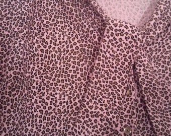 Pink leopard print shirt blouse bow tie 46 48 XL pretty in pink grunge punk kinderwhore 60s 80s sixties courtney love babydoll 90s