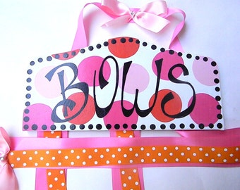 Hair Bow Holder- Personalized pink, hot pink, orange