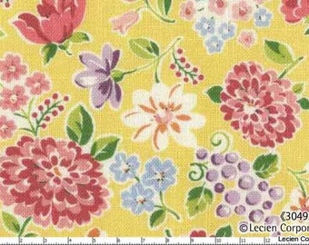Last Piece, Japanese, Lecien, OLD NEW 30'S, Spring Meadow Flowers in Yellow, 30493-50, 7 X 44 inches